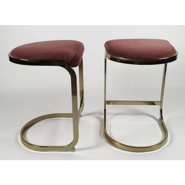 Milo Baughman Style Cantilever Bar Stools - A Pair For Sale In Kansas City - Image 6 of 7