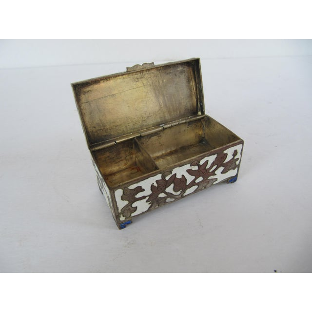 Antique Cloisonnée Two Sided Stamp Box For Sale - Image 6 of 8