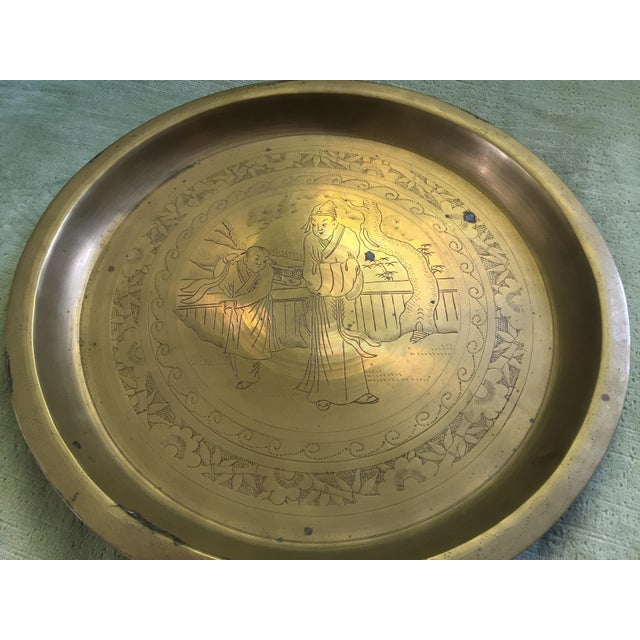Mid-Century Oriental Brass Etched Tray - Image 4 of 6