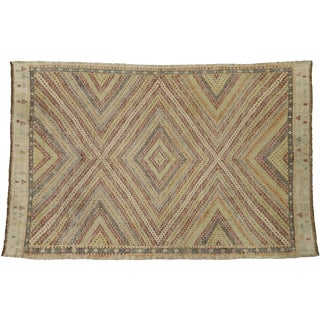 Vintage Turkish Kilim Rug With Southern Living British Colonial Style -6′4″ × 9′9″ For Sale