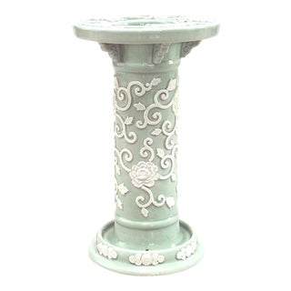 Victorian Celadon and Porcelain Umbrella Stand For Sale