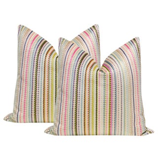 "22"" Multicolor Cut Velvet Pillows - a Pair"