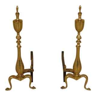 Vintage Brass Clawfoot Fireplace Andirons - a Pair For Sale