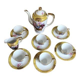 Mid-Century MK Hand Painted Porcelain Tea Set, Japan - 15 Piece Set For Sale
