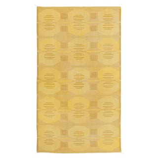 Yellow Vintage Swedish Flat-Weave Rug Signed KH For Sale