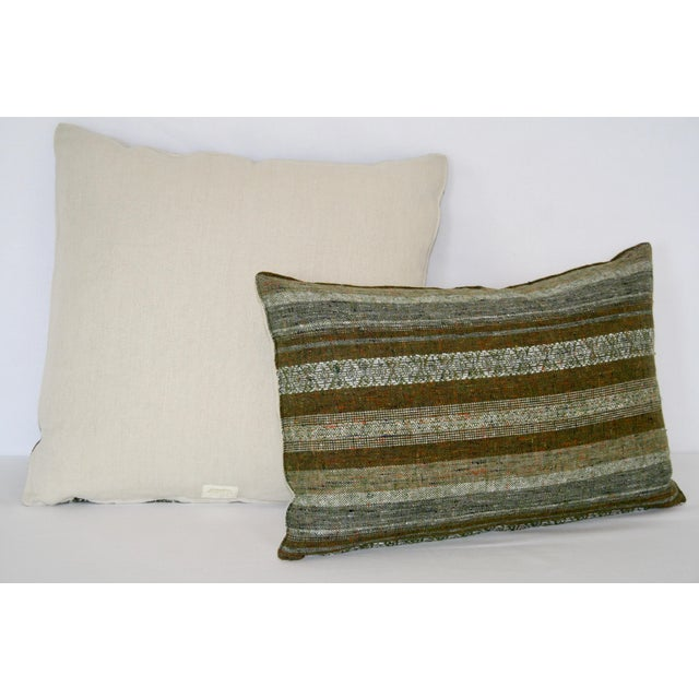 Contemporary 1960's Contemporary Striped Green Wool Pillows - a Pair For Sale - Image 3 of 7