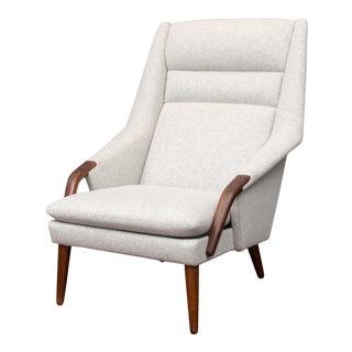 Scandinavian Modern High Back Lounge Chair For Sale