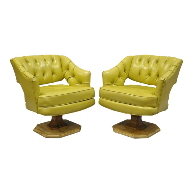 Pair Silver Craft Green Yellow Swivel Club Lounge Chairs Mid Century Modern A For Sale