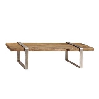 Reclaimed Wood & Steel Coffee Table For Sale