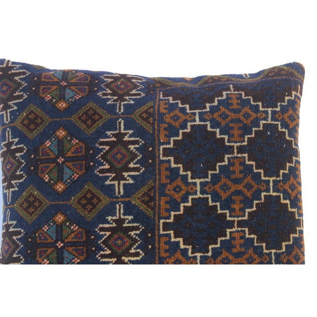 """Enid Blue/Brown Antique Kilim Handmade Throw Pillow(18""""x18"""") For Sale - Image 4 of 6"""