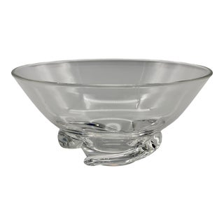 Vintage Steuben Glass Donald Pollard Crystal Spiral Bowl For Sale