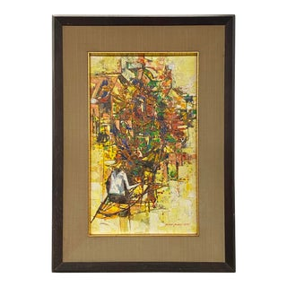 Vintage 1971 Signed Oil on Canvas Abstract Framed Art Painting Colorful For Sale