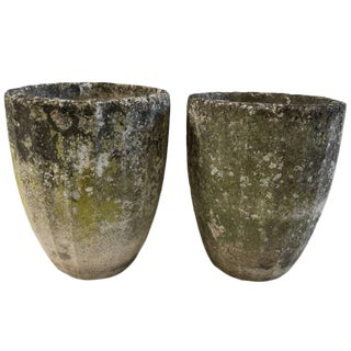Vintage French Cement Urns With Organic Patina For Sale