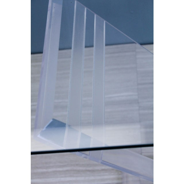 1970s Lucite Pedestal Console For Sale - Image 10 of 11