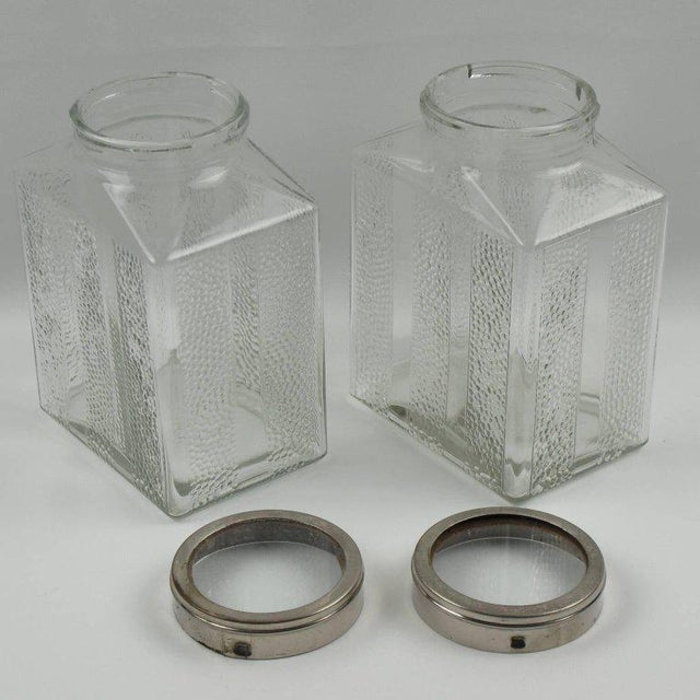 Art Deco Glass and Chrome Kitchen Canister Jar - a Pair - Image 4 of 9