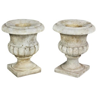 Pair of White Marble Garden Urns For Sale