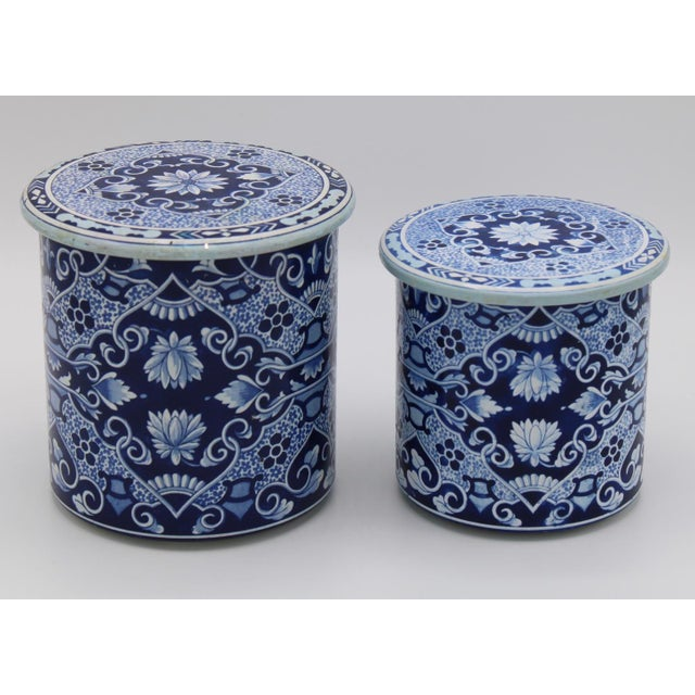 Metal Floral Blue and White Delft Tole Lidded Nesting Canisters - a Pair For Sale - Image 7 of 12