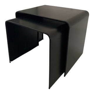 1980s Postmodern François Monnet Style Waterfall Bent Steel Black Nesting Occasional Side End Tables, a Set of 2 For Sale