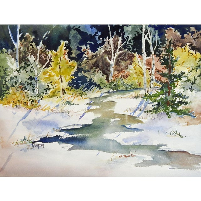 Sunlit Forest Stream Watercolor Painting For Sale - Image 4 of 4