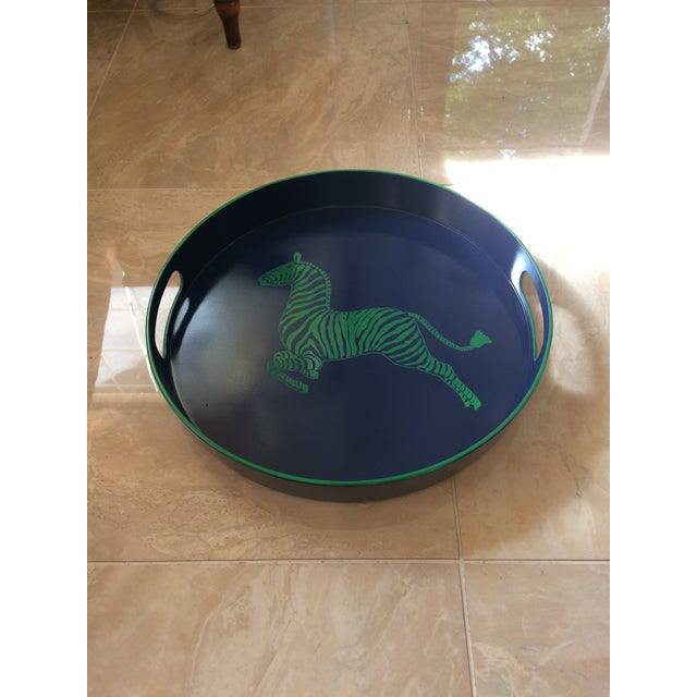 Beautiful hand painted navy and kelly green scalamandre inspired zebra bar serving tray. Preppy fun tray that will add a...