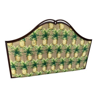 Coastal Pineapple Upholstered Wall Mount King Headboard For Sale
