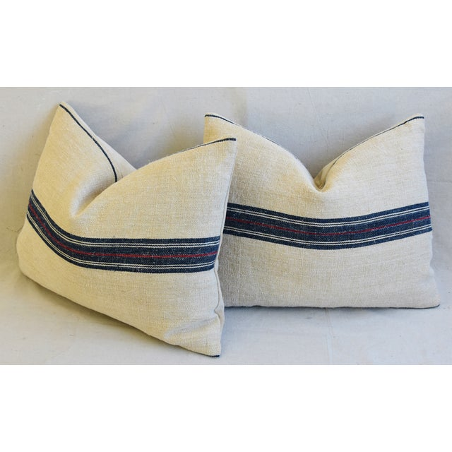 "French Woven Blue & Red Striped Grain Sack Feather/Down Pillows 24"" X 18"" - Pair For Sale - Image 9 of 13"