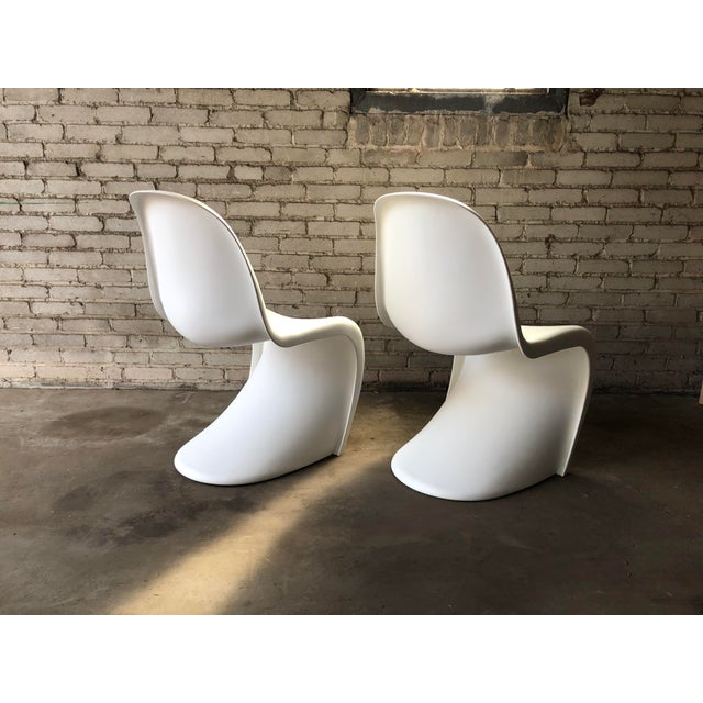 Plastic Modern Vitra Panton Matte White S Chairs - A Pair For Sale - Image 7 of 13