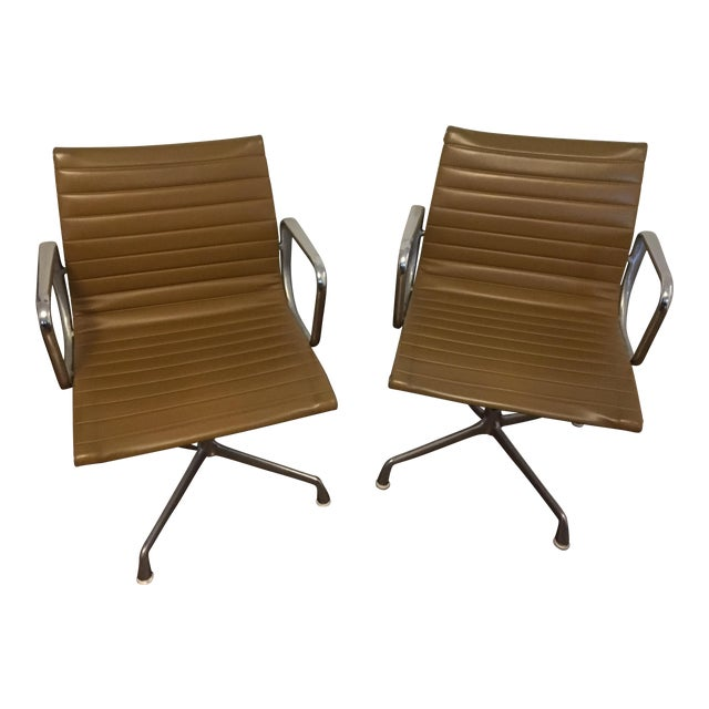 Eames Style Gold Office Chairs - A Pair - Image 1 of 7