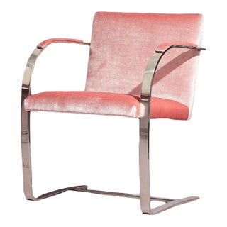 Ludwig Mies Van Der Rohe Brno Flat Bar Chrome Chair in Pink For Sale