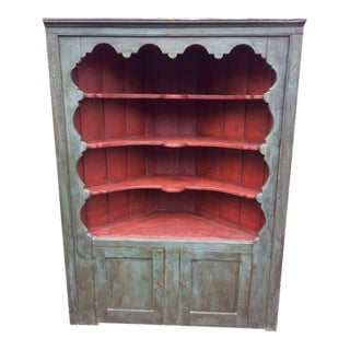 19th C Painted Corner Cupboard For Sale