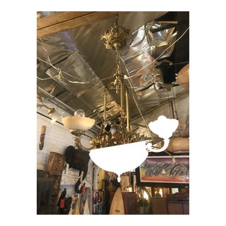 French Art Nouveau Chandelier With Alabaster and Bronze Dome and Alabaster Shades For Sale