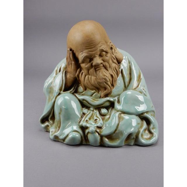 Incredible Japanese Kutani Celadon Glazed Fukurokuju Statue For Sale - Image 13 of 13