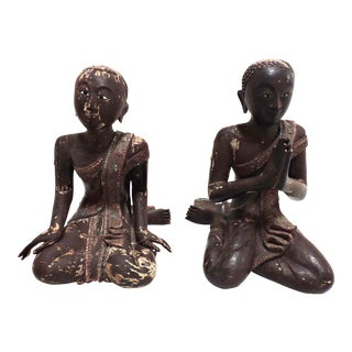 Teak and Lacquer Seated Buddha Devotees For Sale