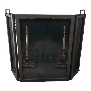 Pottery Barn Industrial Fireplace Triple Screen For Sale