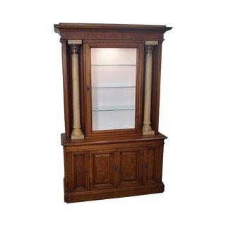 Karges Burl Walnut Corinthian Column Display Cabinet For Sale