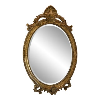 Rococo Style Large Beveled Oval Mirror For Sale