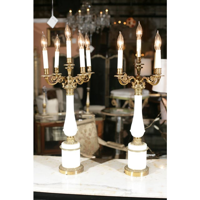 Bronze & Milk Glass Candelabras - A Pair - Image 2 of 6