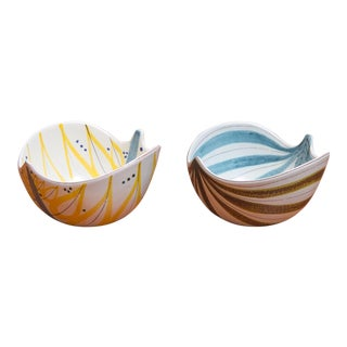 1950s Stig Lindberg for Gustavsberg Faience Leaf Bowls - a Pair For Sale