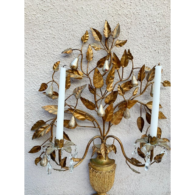 Hollywood Regency Giltwood Wall Sconces - a Pair For Sale - Image 10 of 12