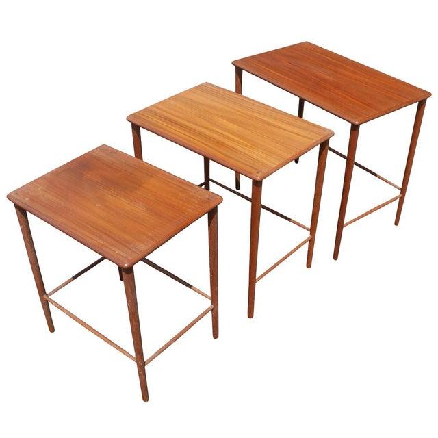P. Jeppesens Møbelfabrik Vintage Grete Jalk Danish Nesting Side End Tables - Set of 3 For Sale - Image 4 of 4