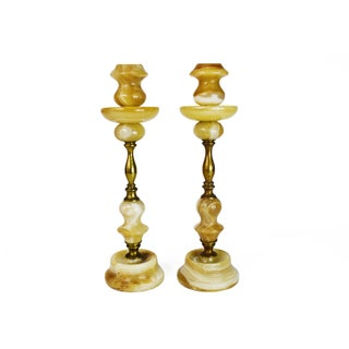 Vintage Tall Onyx Stone Brass Candlestick Candle Holders - a Pair For Sale