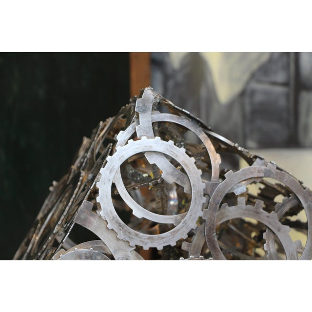 Great Abstract Artist Made Rotating Gear Cube Sculpture For Sale - Image 4 of 7