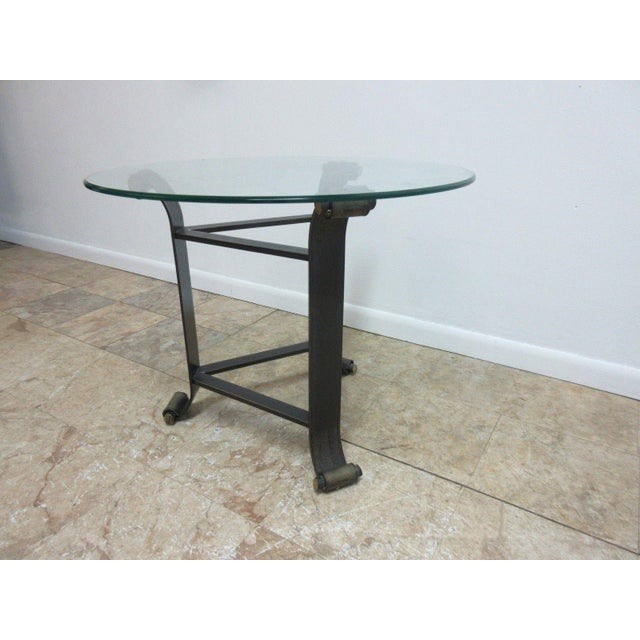 Glass top wrought iron end table chairish for Wrought iron and glass side tables
