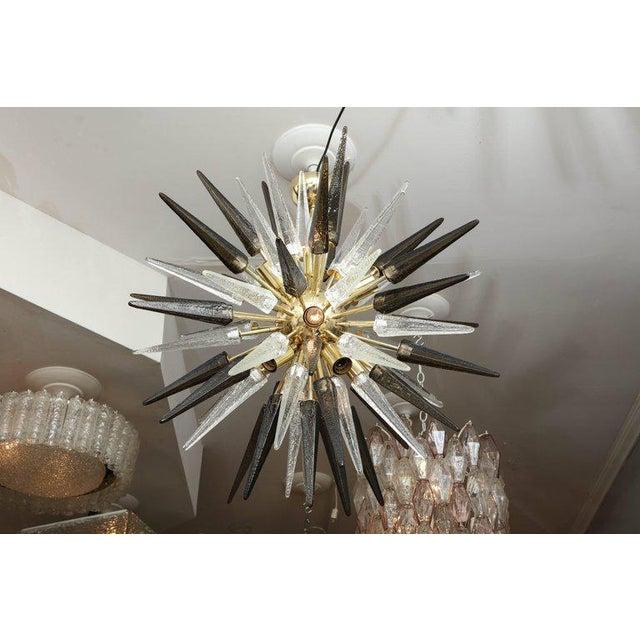 Murano Smoke and Clear Glass Spike Sputnik For Sale - Image 10 of 10