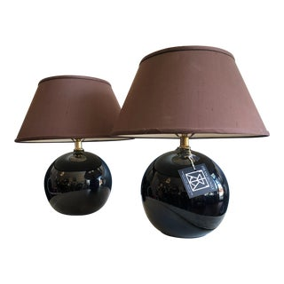 Pair Black Globe Mid-Century Modern Table or Mantle Lamps For Sale