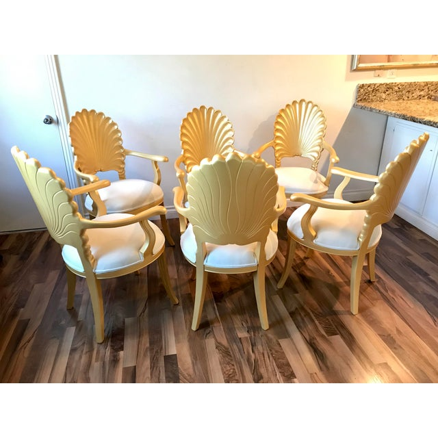 Hollywood Regency Mid Century Hollywood Regency Venetian Grotto Shell Gold Carved Arm Chairs- Set 6 For Sale - Image 3 of 12