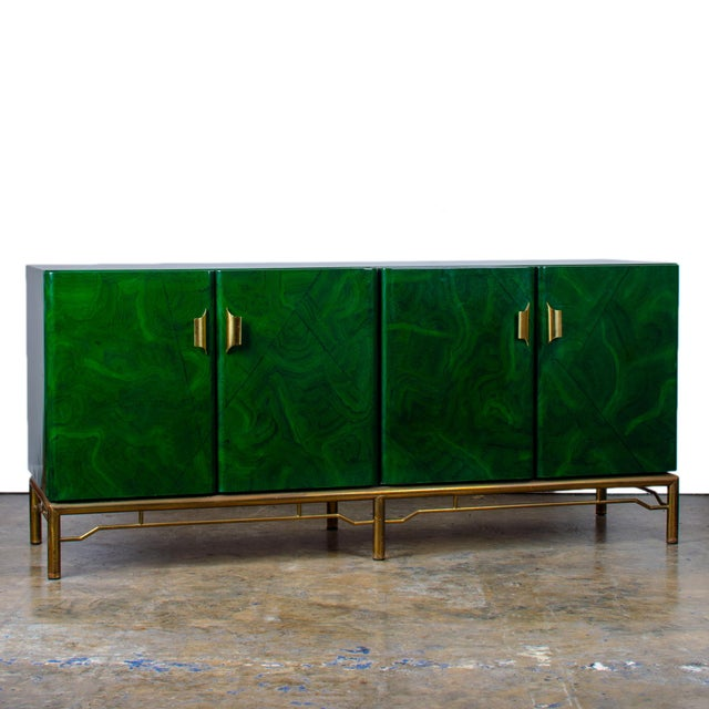 1970s Italian Malachite Lacquer Sideboard For Sale - Image 12 of 12