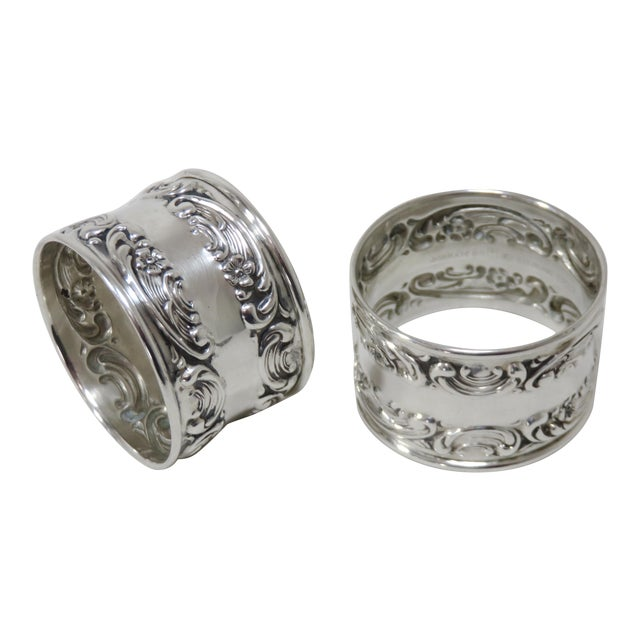 Vintage Victorian Gorham Sterling Silver Napkin Rings - a Pair For Sale