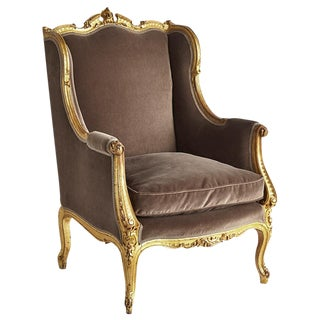 Louis XV Rococo Giltwood Armchair With Velvet Upholstery Circa 1800s