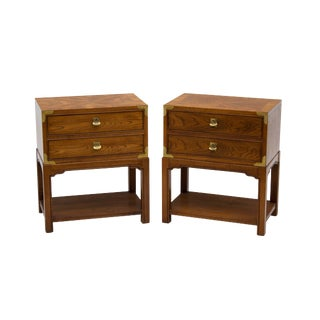 Pair of Campaign Nightstands by Hickory Furniture For Sale